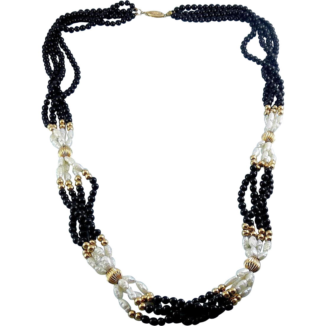 4-Strand Pearl, Black Onyx & 14K Gold Beads Necklace - 25 Inches Long