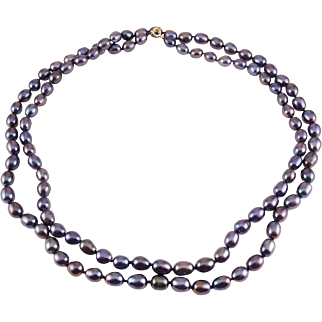 Peacock Purple Freshwater Pearls 34 Inch Necklace, 14K Gold Clasp