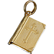 14K Yellow Gold Book Locket Pendant with Lord's Prayer, 2 Pages, Opens & Closes