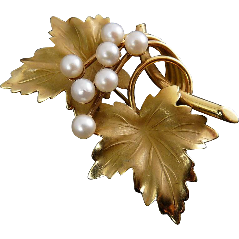 Vintage 14K Grape Leaves & Pearl Grapes Pin - Carl-Art