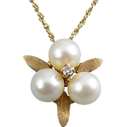 14K Yellow Gold, Pearl Trio & Diamond Flower Pendant – Engle Bros.