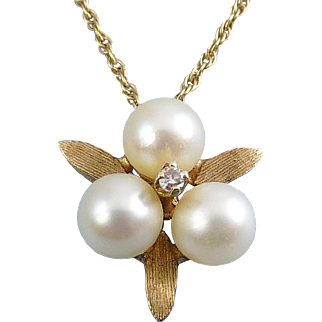 14K Yellow Gold, Pearl Trio & Diamond Flower Pendant – Engle Bros.