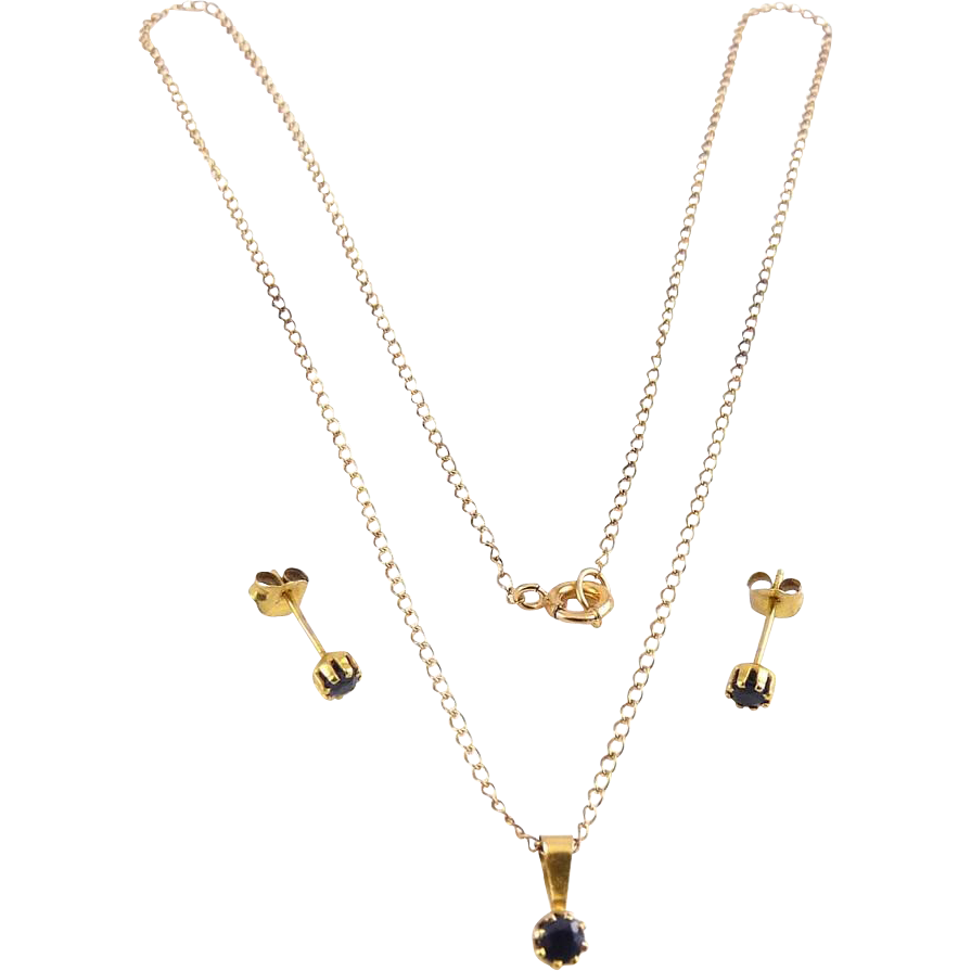 14K Yellow Gold & Sapphire Stud Earrings & Solitaire Pendant