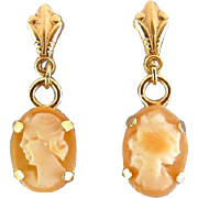 14K Gold & Carved Shell Cameo Dainty Drop Earrings, Pierced