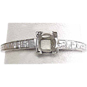 Vintage 18K White Gold Art Deco Ring, Solitaire Setting, Size 5 1/2 ~ 1.2 Grams