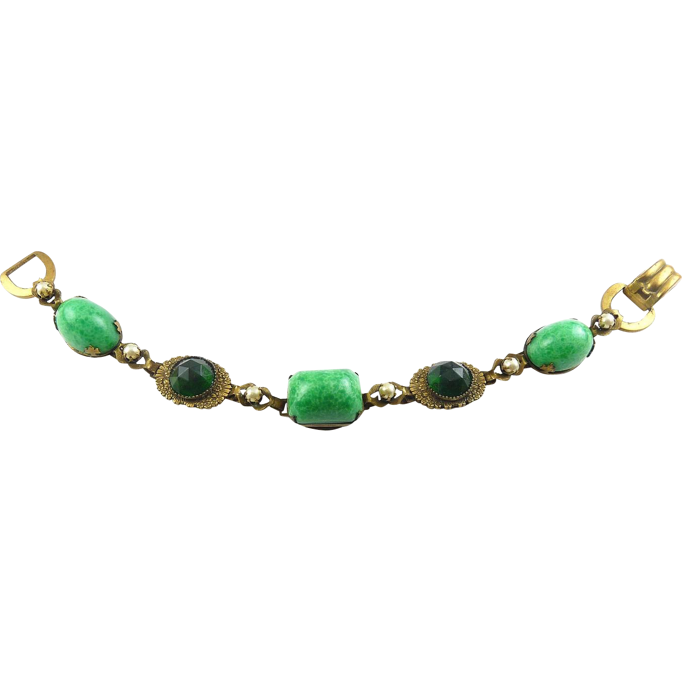 1930's Brass Bracelet with Big Jade Peking Glass & Emerald Rhinestone Rose-Cut Stones & Faux Pearls