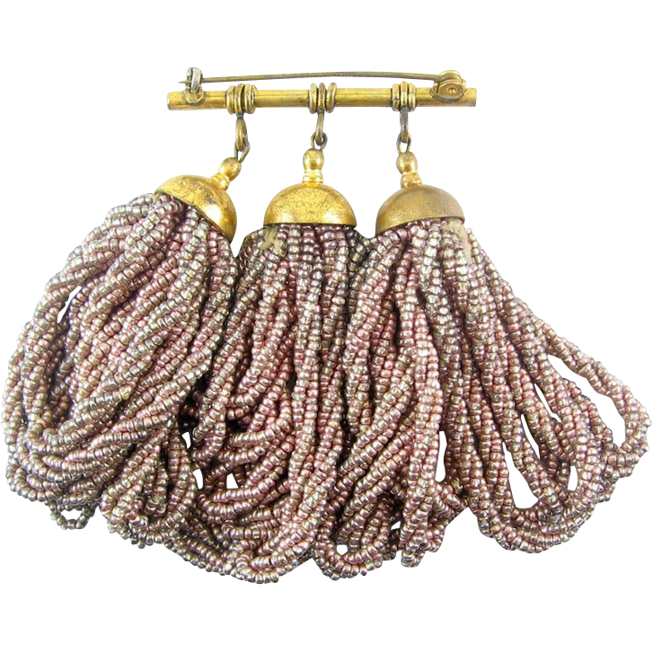 Lush 1930s European Metallic Rose-Mocha Beaded Tassels Bar Pin