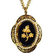 1940's Victorian Revival Black Glass & Seed Pearl Flower, Brass Frame Pendant & Chain