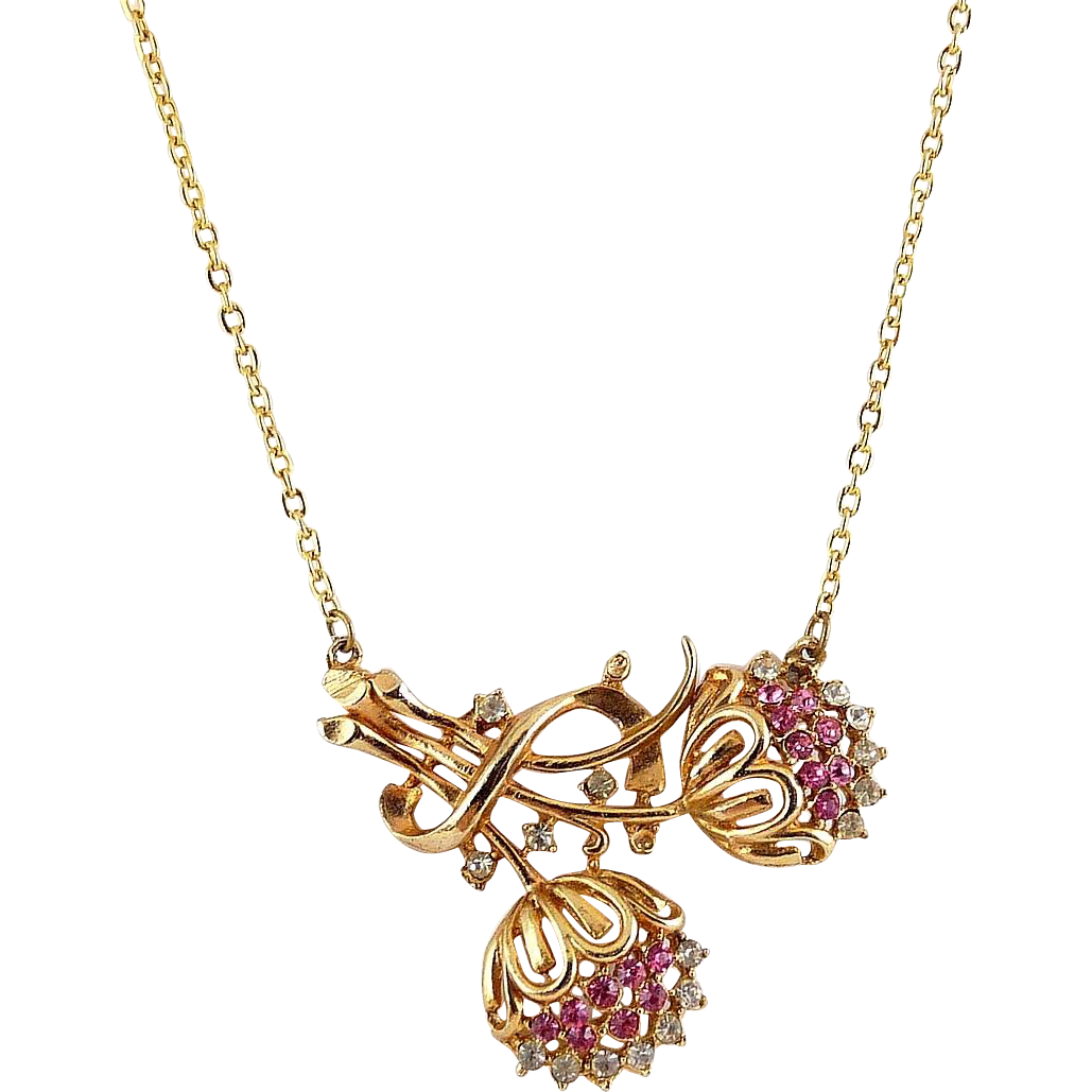 1950's Pink & Crystal Rhinestone Flowers Necklace - Gold Tone