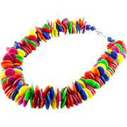 1980s Multicolor Plastic Disks Confetti Bead Necklace