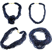 20-Strand Blue Iridescent Bohemian Glass Seed Beads Necklace - Multi Style Options