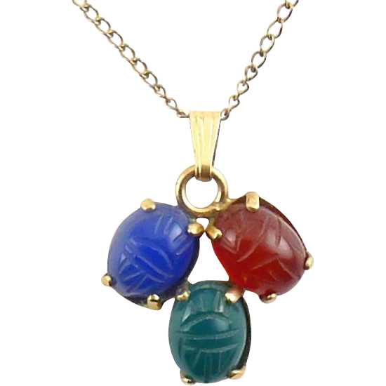 Vintage Three Gemstone Scarab Beetles Pendant Necklace, GF Necklace