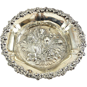 Lg. .800 Silver Ornate Repousse' Fruits & Foliage Nut Bowl, Tagliaeve, Milano 285 Grams