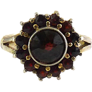 Antique 830S Silver Bohemian Rose Cut Garnets Baby's Child's Ring, Gold Finish, Sz. 3