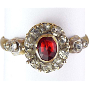 Victorian English 8CT Gold Ring with Ruby and Diamond Pastes – Sz. 10