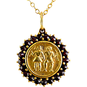 Bohemian Garnet Framed Folklore Girl & Boy Pendant in .900 Gilt Silver, G.F. Necklace , Czechoslovakian