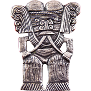 Hefty .900 Silver Pre Colombian Aztec or Inca Man Figure Brooch Pin - 25 Grams