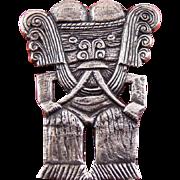 Hefty .900 Silver Pre Colombian Aztec or Inca Man Figure Brooch Pin - 25 Grams