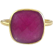 9K Yellow Gold Large Rubellite Pink Tourmaline Solitaire Ring~ 3.3 Grams