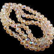 Vintage Aurora Borealis AB Beads 44 Inch Necklace
