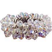 1960's AB Crystal Beads Expansion Stretch Bracelet - Super Sparkle
