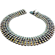 Brilliant Aurora Borealia Rhinestones 5-Row Bracelet, Dark Gunmetal Settings