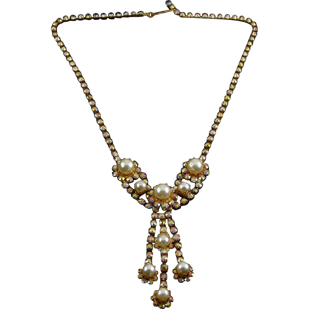 1960's AB Rhinestones & Faux Pearls Y Necklace with Triple Pearl Drop Pendant