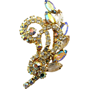 1960's Crystal & AB Rhinestones Spray Pin - Lg. Marquise Leaves