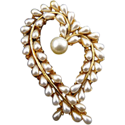 1960's Signed ART Open Heart Pin with Faux Pearls