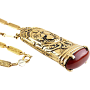 Big ACCESSOCRAFT NYC Renaissance Style Pendant with Carnelian Glass Cabochon, Novelty Chain Necklace