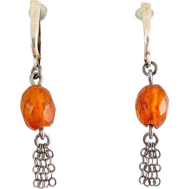 Baltic Amber Bead Earrings with Sterling Tops & Chain Tassels - Mid Century