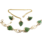 1950's Green Jadeite Jade Carved Leaves & Gold Filled Link Bracelet, Earrings & Pendant