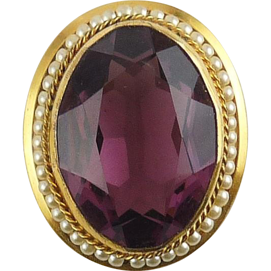 Victorian Style Amethyst Purple Crystal Oval Jewel in Faux Pearl Frame Brooch Pin