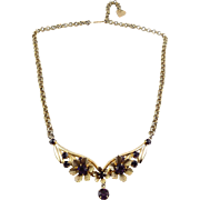 1960's Amethyst Rhinestones in Flower Arc Centerpiece Necklace - Adjustable