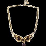 1960's Amethyst Rhinestones in Flower Arc Centerpiece Necklace - Adjustable