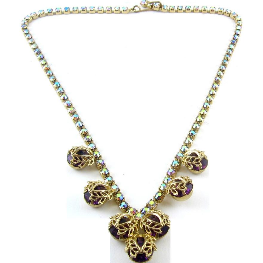 1960's Amethyst AB Rhinestone Necklace - Leaf-Capped Drops, Adj. Length