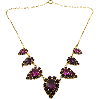 Amethyst Purple & Fuchsia Pink Rhinestones 7 Drops Necklace