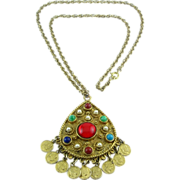 Vintage 1960s Jeweled Teardrop Amulet with Coin Dangles Necklace