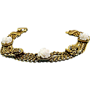 Vintage Cupid Angel Heads & Faux Ivory Roses Chain Bracelet