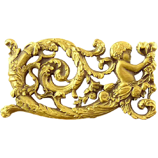 Angel or Putti Riding Boat of Tree Boughs with Bow, Acanathus Scrolls - RMA