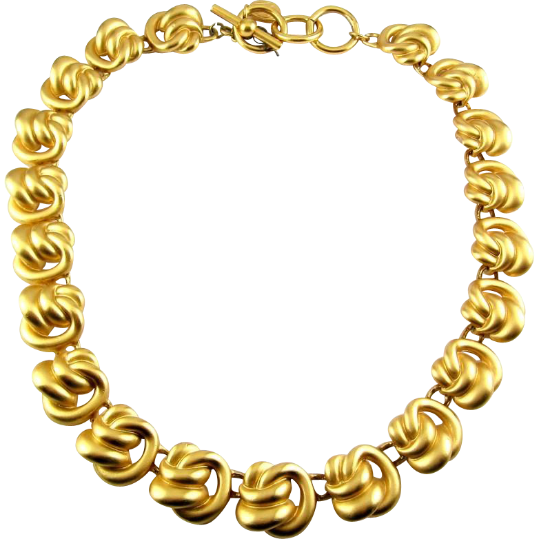 Vintage ANNE KLEIN II Golden Knots Adj. Necklace, Toggle Clasp
