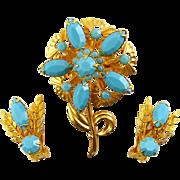 Vintage 1960s Aqua Rhinestones Flower Brooch & Clip On Earrings Set