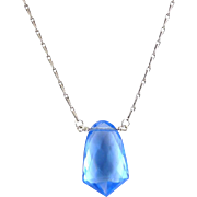 1930's Art Deco Cornflower Blue Faceted Glass Pendant, Novelty Sterling Silver Necklace