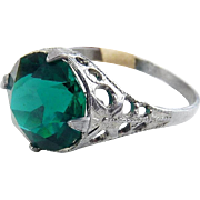 1920's Art Deco Chromium & Green Crystal Solitaire Ring - Silver Tone Filigree, Never Worn, With Tag