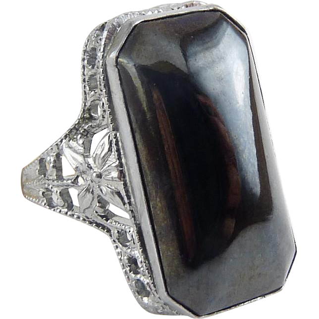 1920's Art Deco Chromium & Hematite Crystal Solitaire Ring - Silver Tone Filigree, Never Worn, With Tag