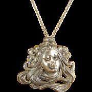 Antique Art Nouveau Large Woman's Face Pendant with Blue Glass Eyes, Silver-Plated, Long Necklace