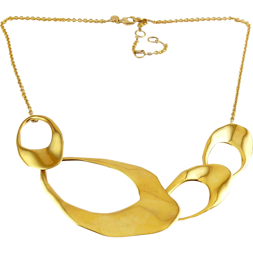 Alexis Bittar Gold Plated Wavy Large Oval Links Necklace - Adjustable, Miss Havisham