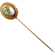 Antique Art Glass Stickpin in Gilt Brass Setting - Arts & Crafts