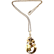 1940's Retro Rose & Yellow Gold-Filled Flower Pendant Necklace- A&Z Co.