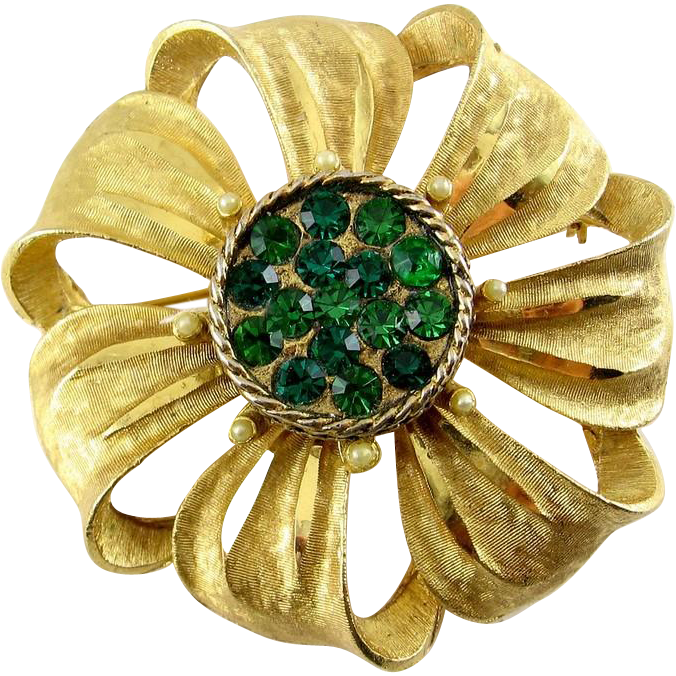 Large BSK Golden Ribbon Flowers Pin with Green Rhinestones & Faux Pearl